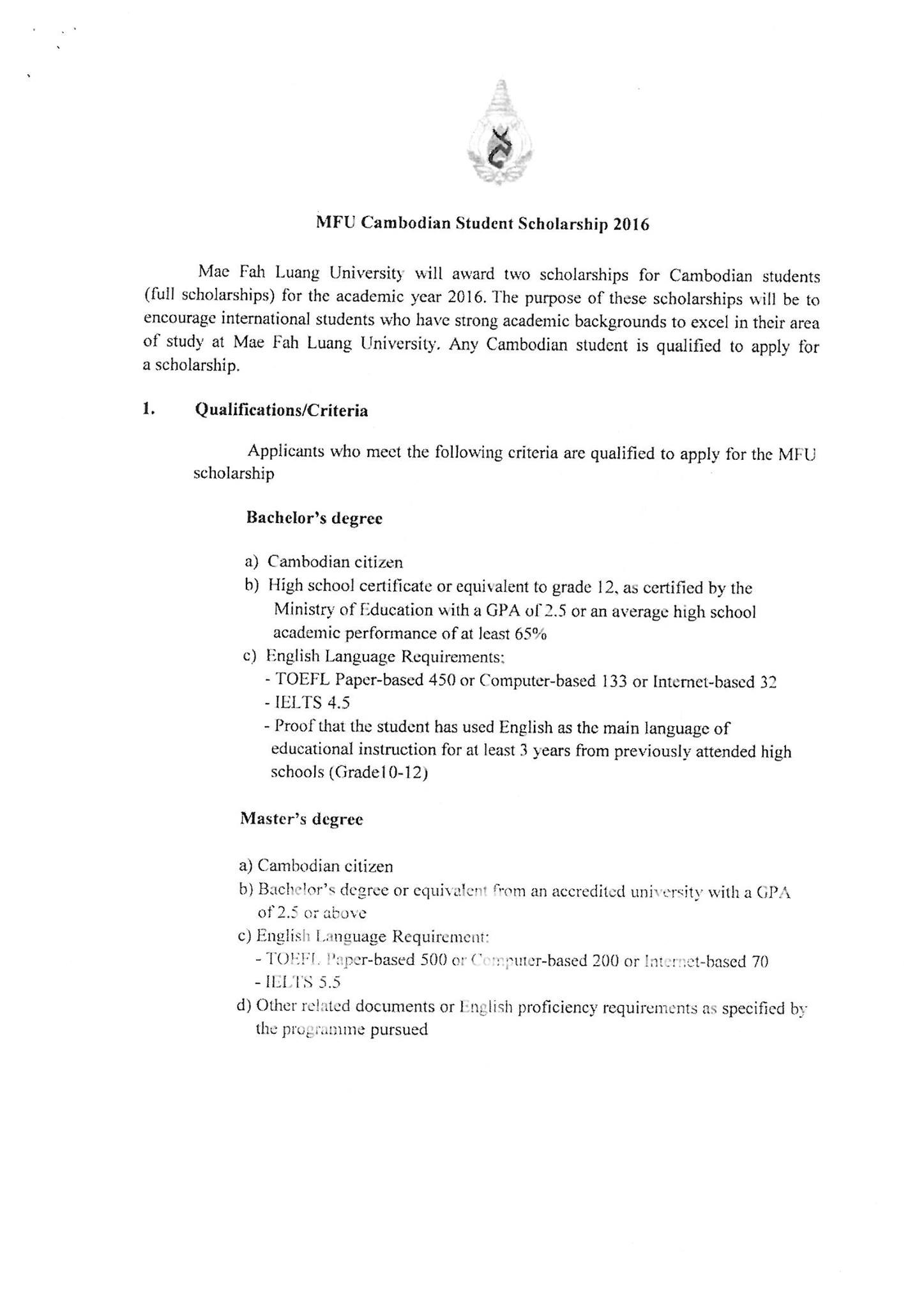 Thai scholarship